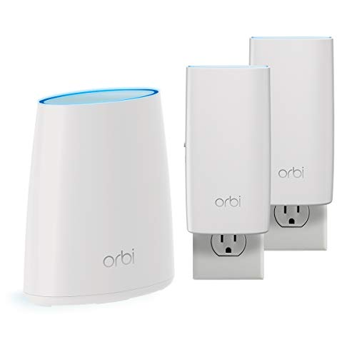NETGEAR Orbi Tri-band Whole Home Mesh WiFi System, with Wall Plugs (RBK33) – Router replacement covers up to 5,000 sq. ft. 3-pack includes 1 router & 2 wall plug satellites, White