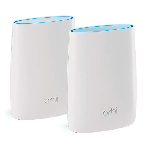 NETGEAR Orbi Tri-band Whole Home Mesh WiFi System with 3Gbps Speed (RBK50) – Router & Extender replacement covers up to 5,000 sq. ft., 2-pack includes 1 router & 1 satellite