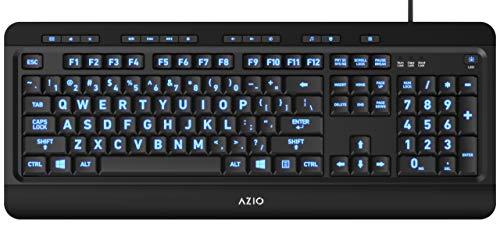 Azio Large Print Keyboard - USB Computer Keyboard with 3 Interchangeable Backlight Colors (KB505U)