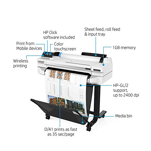 HP DesignJet T525 Large Format Wireless Plotter Printer - 24', with Mobile Printing (5ZY59A)