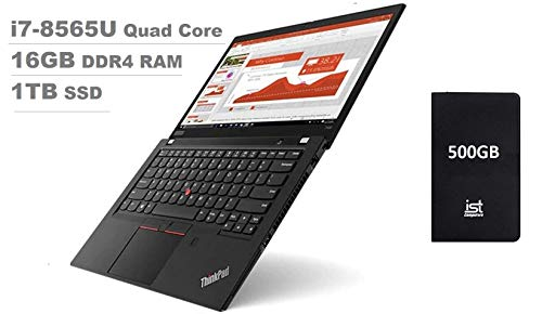 Lenovo Thinkpad T490 14' Full HD FHD (1920x1080) Business Laptop (Intel Quad-Core i7-8565U, 16GB DDR4 RAM, 1TB PCIe SSD) Backlit, UHD 620 Thunderbolt 3, Fingerprint,Type-C, Windows 10 Pro+ IST 500GB