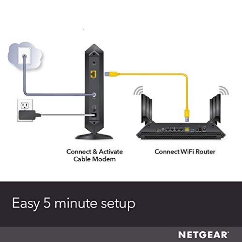NETGEAR Cable Modem CM1000 - Compatible with all Cable Providers including Xfinity by Comcast, Spectrum, Cox | For Cable Plans Up to 1 Gigabit | DOCSIS 3.1, Black (CM1000-1AZNAS)