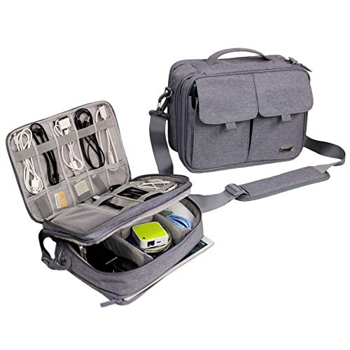 Electronics Organizer Travel Cable Cord Bag Accessories Gadget Gear Storage Cases (Light Gray)