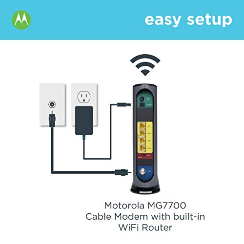 Motorola MG7700 24x8 Cable Modem Plus AC1900 Dual Band WiFi Gigabit Router with Power Boost, 1000 Mbps Maximum Docsis 3.0 - Approved by Comcast Xfinity, Cox and More