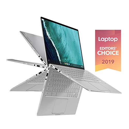 Asus Chromebook Flip C434 2 In 1 Laptop, 14' Touchscreen FHD 4-Way NanoEdge, Intel Core M3-8100Y Processor, 4GB RAM, 64GB eMMC Storage, All-Metal Body, Backlit KB, Silver, Chrome OS, C434TA-DSM4T