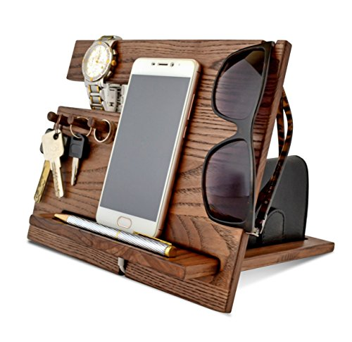 Wood Phone Docking Station, Ash Desk Organizer, Tablet Holder, Key Hooks, Coin, Wallet, Watch Stand, Handmade Men Graduation Gift, Husband Anniversary