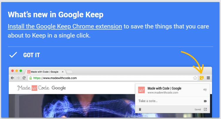 Google Keep update with Chrome Extension