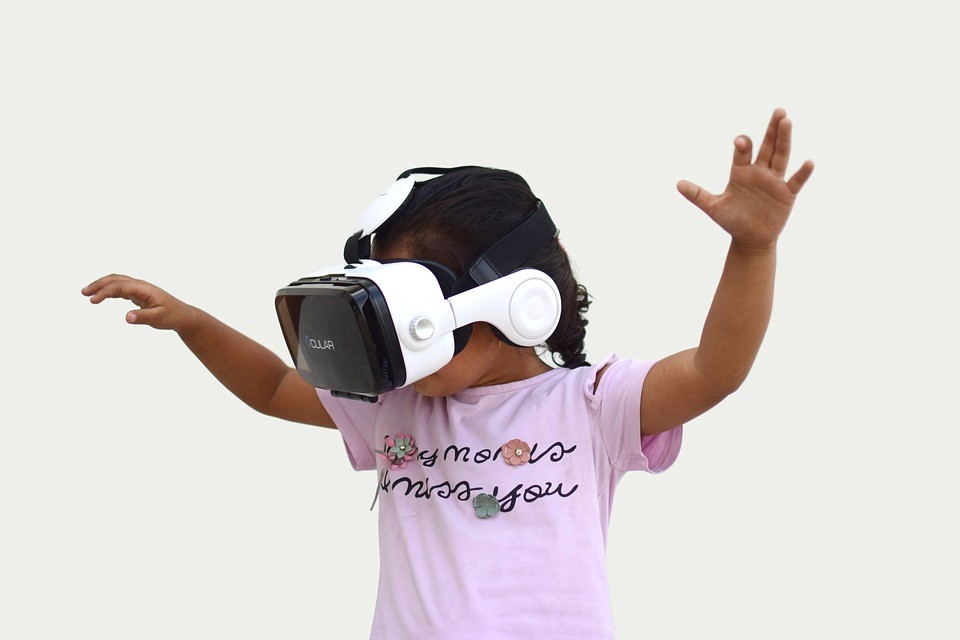 child with VR glasses
