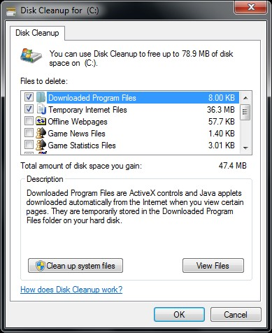 using built in disk cleanup
