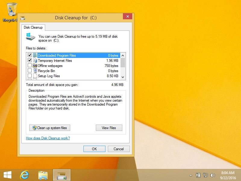 disk cleanup win8