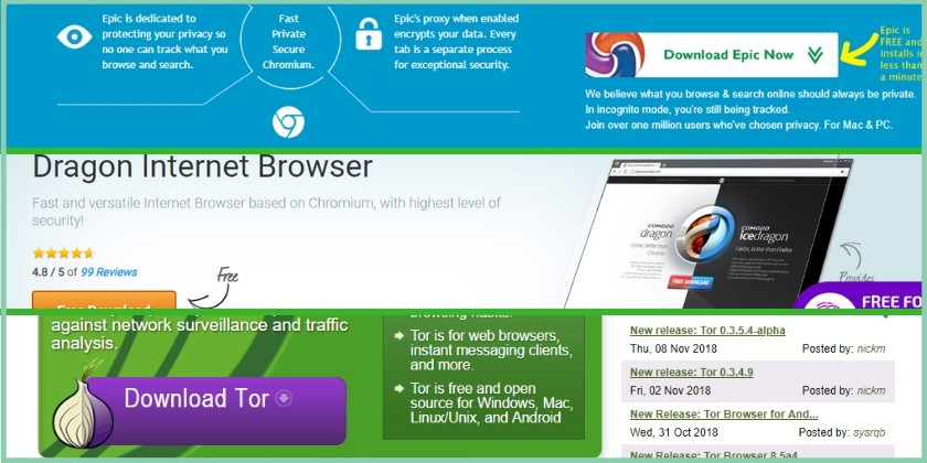 private and anonymous browsers