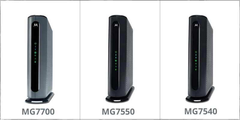 comparison of motorola combo modem-router devices