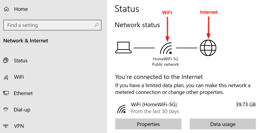 wifi connection settings on laptop