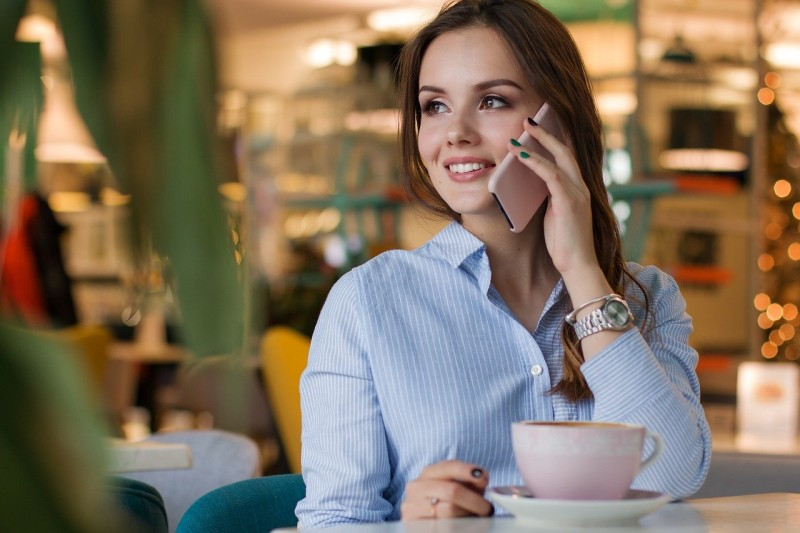 woman communicating securely over smartphone
